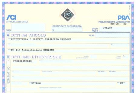 Automobili, stop al certificato di proprietà