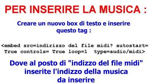 SONO RIUSCITO AD INSERIRE LA MUSICA NEL MIO BLOG